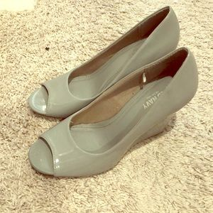 Grey open toed wedges